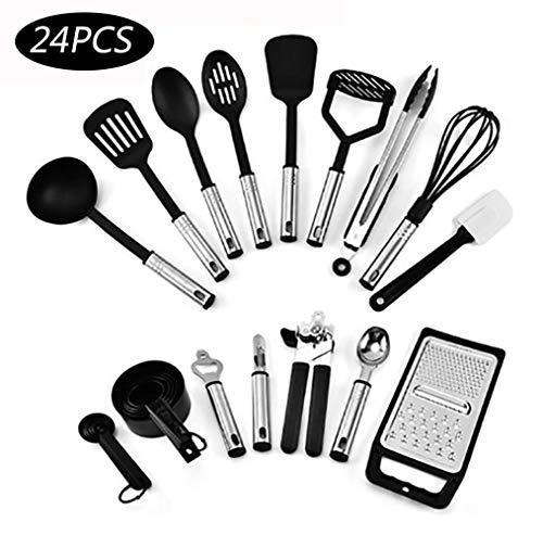 Generies Ustensiles De Cuisine en Silicone 24 Pièces Pan AntiAdhésif Ustensiles De Cuisine en Silicone Cuillère De Cuisine Cuisine