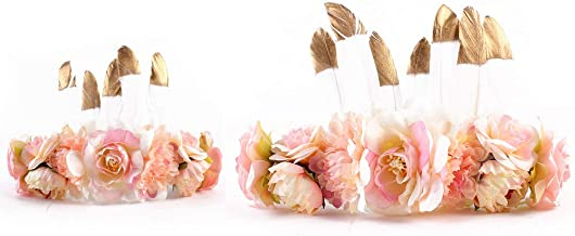 IEUUMLER 2PCS Baby and Mother Feather Flower Crown Festival Wreath Hippie Headband TS009
