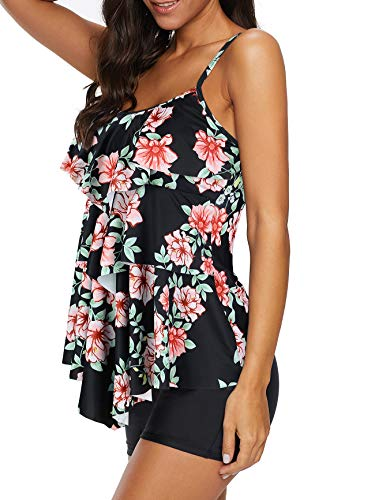 Durio Tankini Damen Bauchweg Badebekleidung Zweiteiliger Badeanzug mit Hot Pants Blumen und Blätter 38-40