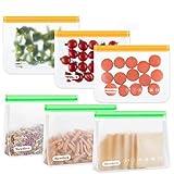 Newdora Bolsas de Silicona Reutilizables 6 Pack, Bolsas Congelar Reutilizables...