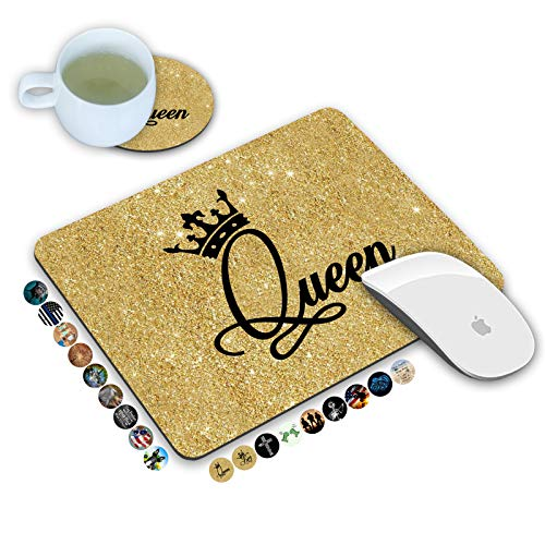 LOWORO Mouse Pad and Coasters Set, Gold Glitter Quotes Crown Queen Mouse Pad, Non-Slip Rubber Base Rectangle Mouse Pads for Laptop and Computer Office Accessories
