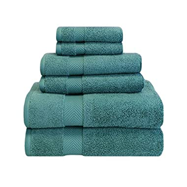 Superior Zero Twist 100% Cotton Bathroom Towels, Super Soft, Fluffy, and Absorbent, Premium Quality 6 Piece Towel Set with 2 Washcloths, 2 Hand Towels, and 2 Bath Towels - Jade