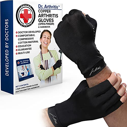 Doctor Developed Copper Arthritis Gloves / Compression Gloves for Women & Men and Doctor Written Handbook - Useful for Arthritis, Raynauds, RSI, Carpal tunnel (Black, L)