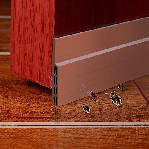 Unter dem Tür-Fegen-Wetter-abisolierenden Tür-unteren Dichtungs-Streifen,5cm Breite x100cm Länge (Braun)