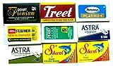 Lamette da barba, confezione campione da 60 lamette, Astra-Derby-Feather-Treet-Shark-Personna-Shark, 9 Marche Differenti