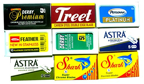 Lamette da barba, confezione campione da 60 lamette, Astra-Derby-Treet-Shark-Pers0nna-Shark, 9 Marche Differenti