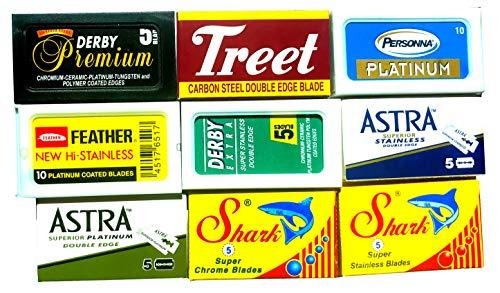 Lamette da barba, confezione campione da 60 lamette, Astra-Derby-Treet-Shark-Pers0nna-Shark, 9...
