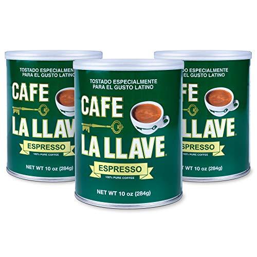 Café La Llave Espresso 100% Pure Coffee Dark Roast Espresso 3 x 10 Ounce Cans