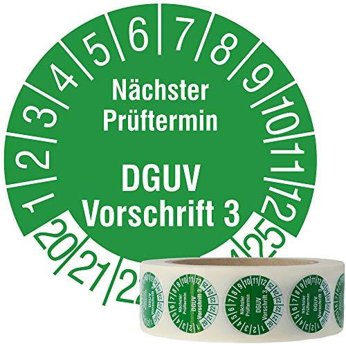 Labelident Mehrjahresprüfplakette 2020-2025 - Nächster Prüftermin DGUV Vorschrift 3 - Ø 30 mm, 1000 widerstandsfähige Prüfplaketten auf Rolle, Vinyl, grün, selbstklebend