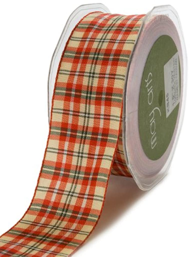 May Arts 3/8-Inch Wide Ribbon, Red and Green Plaid
