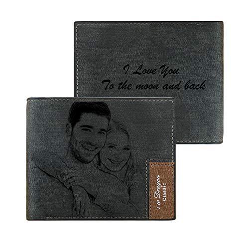 Herrenbrieftasche PU-Leder, personalisierte Geschenke für den Ehemann, individuell gravierte Lederbrieftasche für Männer, lasergravierte Brieftasche