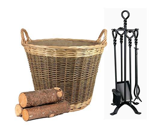 Wrenbury Wicker Log Basket Fire Basket Storage Basket |50cm dia Fabric Lined Unpeeled Willow Traditional
