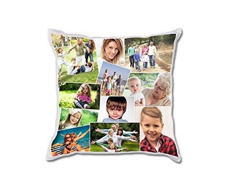 REGALPRIX Cojin Personalizado con Tus Fotos. Forma Cuadrada, Bordes y Fondo Blanco, Estampado a Dos Caras - 45 x 45 cm.