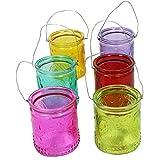 Annastore 12 oder 6 Stück Windlichter aus Glas zum Hängen mit Henkel H 7 cm -Teelichtgläser klar im Vintage Look - Hängeteelichthalter (6 x Bunt)