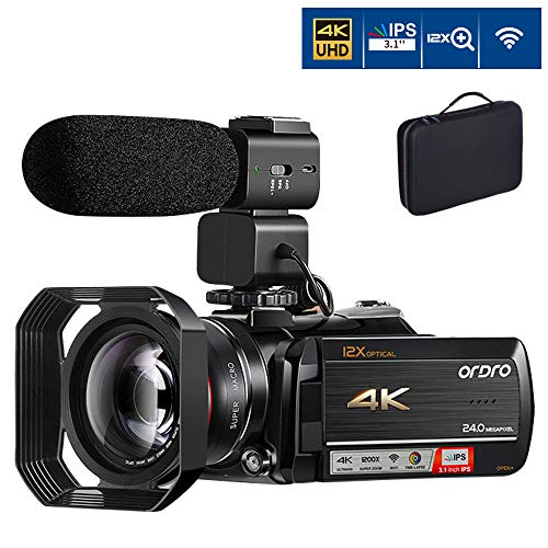 Best Review Of 4K Camcorder Video Camera ORDRO 12x Optical Zoom 3.1'' IPS Touch Screen 4K Ultra HD 1080P 60FPS WiFi Digital Camcorders with Microphone Wide Angle Lens and Storage Case