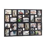 Relaxdays Cadre Photos pêle-mêle Collage 24 Images, Mur, 10 x 15, Vertical ou Horizontal, galerie, HxL 57x86 cm, Noir