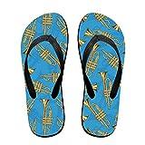 LCKYDLL Brass Trumpets Blue Unisex Slim Flip-Flops Slippers Beach Flat Thong Sandals