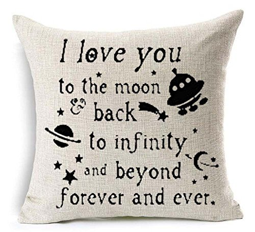 I Love You To The Moon Back To Infinity And Beyond Forever And Ever Spacecraft Outer Space Star Decoration Cotton Linen Decorative Throw Pillow Case Cushion Cover Square 18 X 18 Inches (22)
