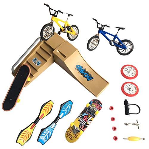 Tongdejing Mini Finger Skateboard Set, Simulation Bikes Skateboard Fingerspielzeug Griffbretter für Partybevorzugungen Kindergeschenk