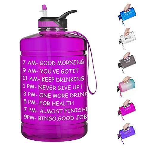 Opard Gallon Water Bottle with Time Marker Straw and Handle 128oz 1 Gallon Water Jug BPA Free Motivational Big Large Sports Water Bottle for Gym Fitness (2-1 Fuchsia)