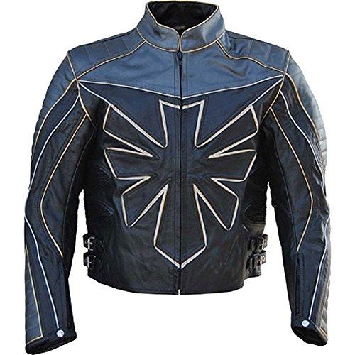 Classyak Chaqueta de cuero auténtico de la motocicleta del Triumph de los hombres