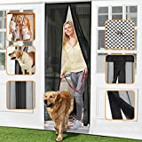 """Homitt Magnetic Screen Door with Heavy Duty Mesh Curtain and Full Frame Seal, Fits Door Size up to 37""""-82"""", Hands Free, Let Fresh Air in, Black"""