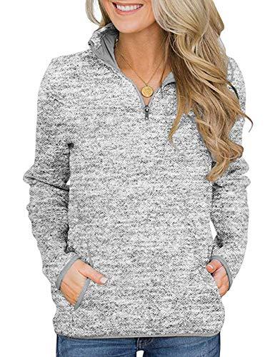 iWoo Damen Sweatshirt Pullover Langarm Farbvarianten Langarmshirt Pulli Oberteil Tops for Women mit Taschen Grau XXL