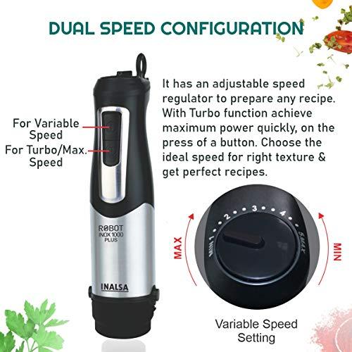 Inalsa Hand Blender Robot INOX 1000 Plus-1000 Watt with Chopper, Whisker, Potato Masher, Multipurpose Jar|Variable Speed |2 Year Warranty,(Silver/Black)
