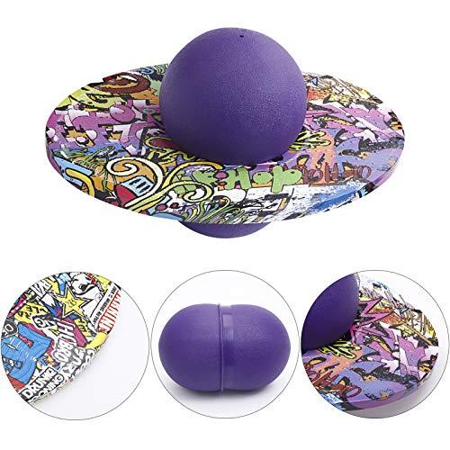 MLING Pogo Ball Balance Board, Pogo Ball elástico a Prueba de explosiones para niños, Graffiti Round Board Pelota de Juguete para niños Pelota de Rebote Equipo de Ejercicios para (púrpura)