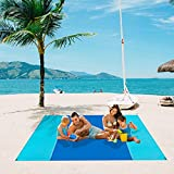 Byron's Games Extra Large Sandproof Beach Blanket with 4 Stakes. 10' x 9' Oversized Beach Blanket Fits 8 Adults. A Lightweight Sand and Water Resistant Mat for Beach, Park, Camping. Machine Washable