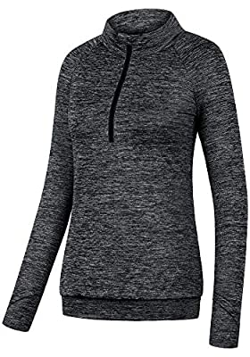 Helloacc Dry Fit Long Sleeve Shirts for Women, Half Zip Pullover Activewear Top Zip Up Jacket Sweater Plus Size Quick-Drying Tops Workout Fitness Exercise Slim Fit Women's Novelty T-Shirts Black L