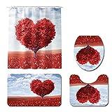 Vlejoy Cortina De Ducha 3D Love Tree Alfombrilla De Baño Alfombra Impermeable Juego De Inodoro Paño De Partición 4 Piezas