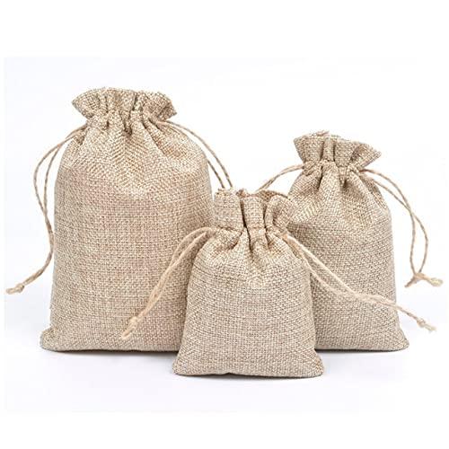 50pcs/lot Natural Burlap Linen Jute Drawstring Gift Bags Sacks Party Favors Packaging Bag Wedding Candy Gift Bags Party Supplies