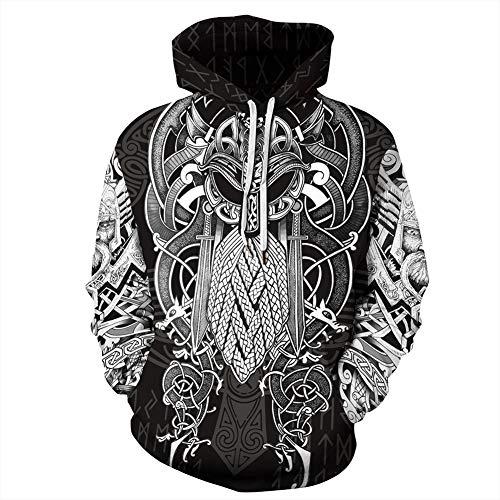 QZY Vintage Odin 3D Asgard Streetwear, Unisex Wikinger Hoodie Cool Gedruckt Hoodies Personalisierte Sweatshirt mit Großen Taschen, Weihnachten Paare Kleid,Vikinghoodie,XL