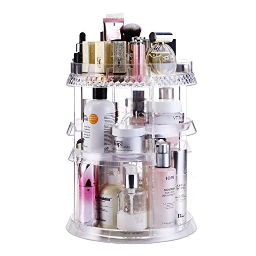 Makeup Organizer Acrylic Cosmetic Organizer ? Vanity and Rotating Makeup Storage, Perfume Organizer with Large Capacity Fit Cosmetics, Perfume, Brush and More for Countertop, Bathroom and Bedroom.