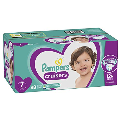 Pampers Cruisers Disposable Diapers, Size 7, 88 Count, ONE MONTH SUPPLY