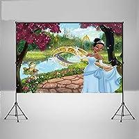装飾バナースタジオ ティアナ姫とカエルゴールデンブリッジホワイトスワン城 小道具写真ブース 赤い花 折りたたみ可能な背景ビデオ カートゥーン