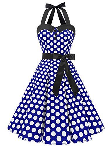 Dressystar Vestidos Corto Cuello Halter Estampado Flores y Lunares Vintage Retro Fiesta 50s 60s Rockabilly Mujer Azul Real Blanco Lunares XXL