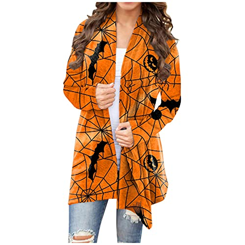 Cardigan Mujer Manga Larga Estampadas de Fantasma Suelto Casual para Fiesta Chaquetas Mujer Suave y Cómodo Abrigos Mujer Elegantes para Halloween Camiseta Cárdigan