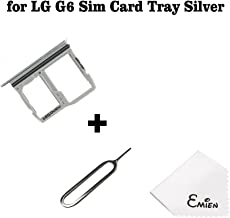EMiEN SIM Card Tray Slot & Micro SD Memory Card Holder Container Replacement for LG G6 H870 H871 H872 LS993 VS998 (Silver)
