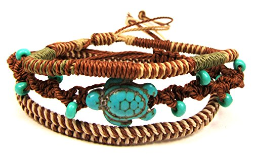 Exotic & Trendy Jewelry Books and more Turtle Hemp Bracelet-Black Bracelet with Turtle in Turquoise Color-Hawaiian Sea Turtle Bracelet-Hemp Bracelet (Turquoise Classic Set)