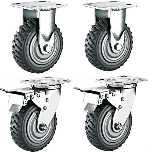 uyoyous 8 Inch Plate Casters Wheels Anti-Skid Heavy Duty Swivel Rubber Caster wheels with 360 Degree Swivel Ball Bearing Top Plate Caster,Set of 4 Casters (2 Swivel with Brake,2 Fixed Without Brake)