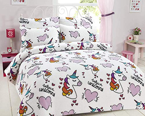 ShawsDirect Unicorn Teddy Fleece Duvet Cover Quilt Cover Set Single/Double Bed (Double)