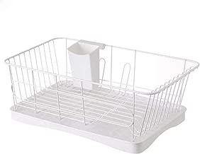 Large Capacity Drying Dish Storage Rack, Sink Dish Drainer Portable Dinnerware Organizer with Drain Board - Space Saving (White)