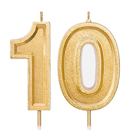 LUTER 2.76 Inch Gold Glitter Happy Birthday Cake Candles Number Candles Birthday Candle Cake Topper Decoration for Party Kids Adults (Number 10)
