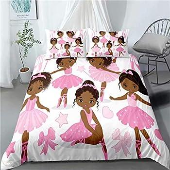 Pink African American Ballerina Bedding Set Twin for Girls Kids ,3 Piece Cute Ballet Princess Dancer Duvet Cover,Black Girls Comforter Cover Set Including(1Duvet Cover+ 2 Pillowcase )
