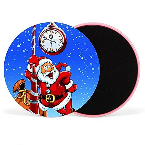 Base deslizante para hacer ejercicio, madera dura o alfombra diseño de doble cara, equipo deportivo Ab, utilizado para hacer ejercicio Core Sliders reloj de Navidad 17,5 cm