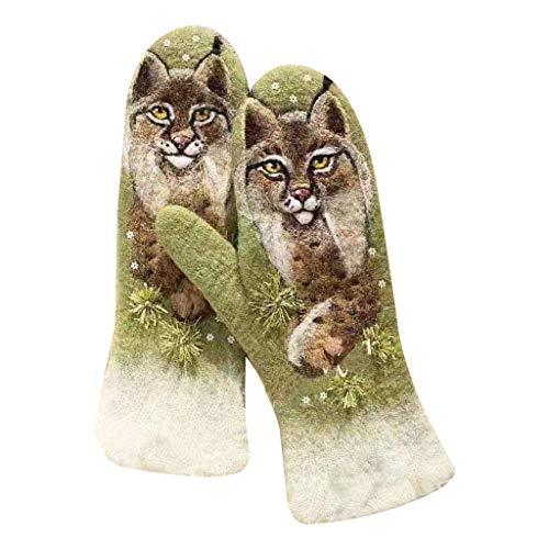 Guantes de cachemira con estampado de animales, elegantes guantes de invierno de cachemira con dedos completos para mujer, impresión en 3D de animales coloridos, guantes cálidos y gruesos a prueba de
