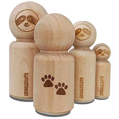 Paw Prints Pair Dog Cat Rubber Stamp for Stamping Crafting Planners - 1/2 Inch Mini