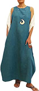 Mogogo Womens Oversized Relaxed Linen Crewneck Sleeveless Long Maxi Dress